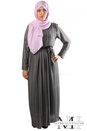 Mastoura long printed dress with stripes