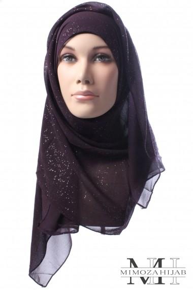 Rectangular hijab fine crepe sequined