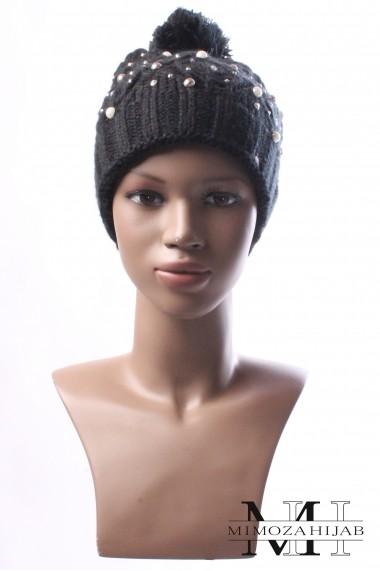 Bonnet hiver pour femme avec pompom et perle