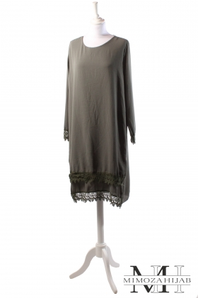 Tunic in crepe with lace