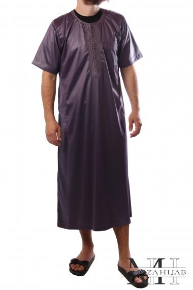 Qamis al Hattami couleurs manches courtes col rond brodé