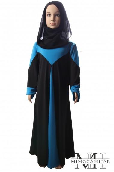 Abaya pour fillette bicolore coupe évasée