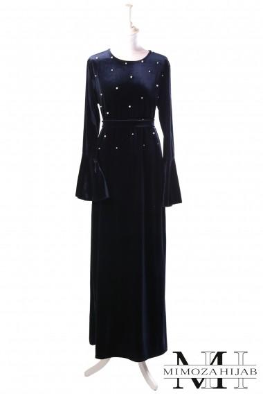 Robe longue Valentina perlée en velour
