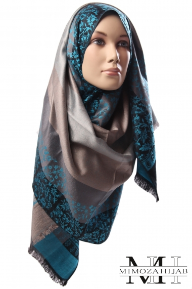 Silky Aladin luxury pashmina with floral motifs