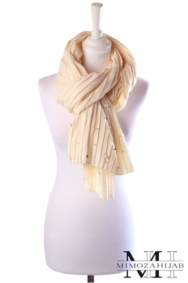 Maxi pleated scarf with pearls winter 2018