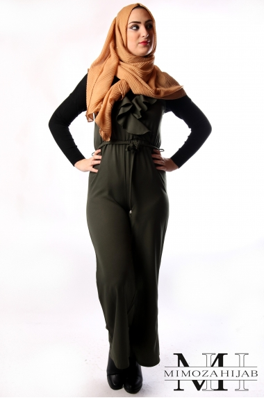Sleeveless Wide Pants Suit