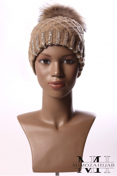 Winter bonnet rhinestones and pompon fur
