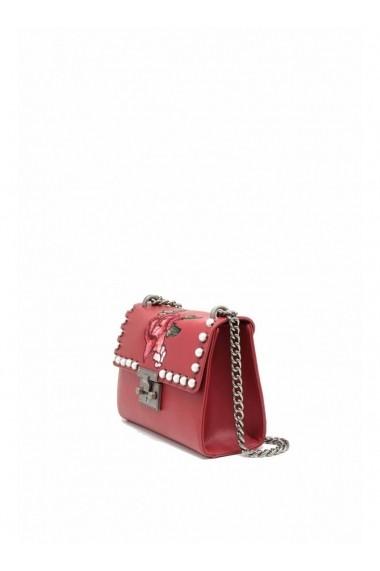 Petit sac à main MARION bandoulière et broderie florale rouge