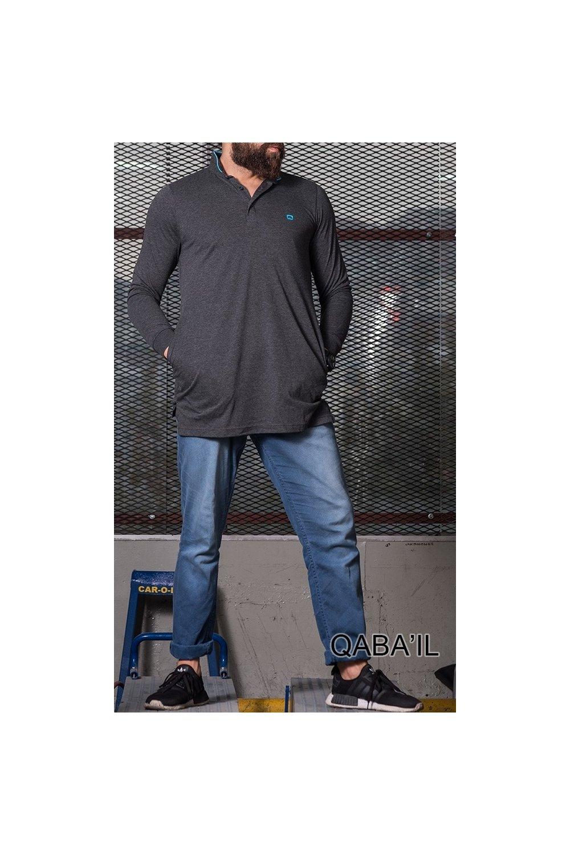Polo Qaba'il col droit manches longues