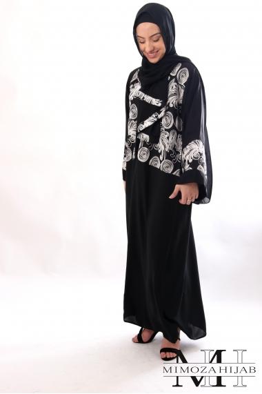 Abaya LYNA style Kimono buste en lin brodé