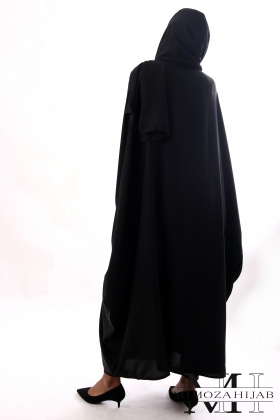 Abaya robe longue papillon Dubaï noire avec strass