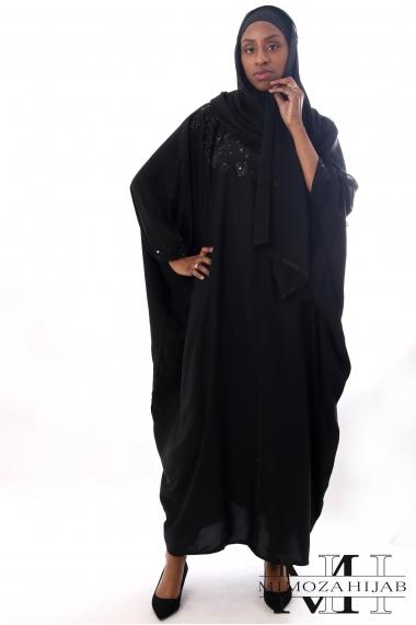 Abaya Dubai long black butterfly dress with rhinestones
