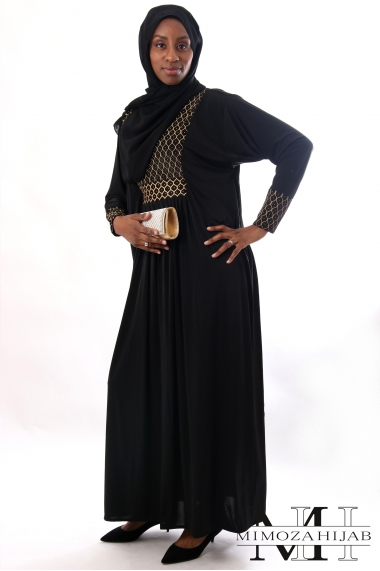 Abaya MAYA plastron black and gold straight sleeves