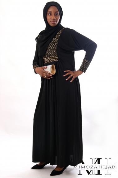 Abaya MAYA plastron noir et doré manches droites