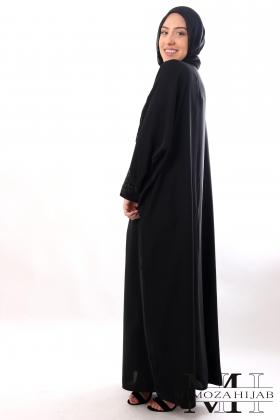Abaya Farasha MAWJ noir en nidha avec strass