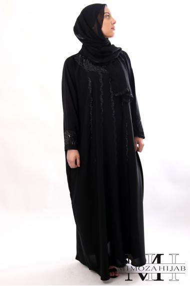 Abaya Farasha MAWJ black in nidha with rhinestones