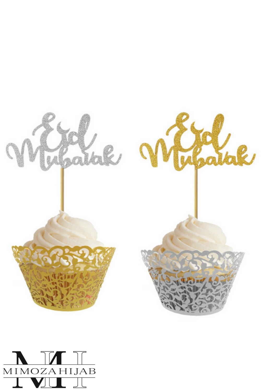 10 Piques Eid Moubarak pour Cupcakes et patisserie