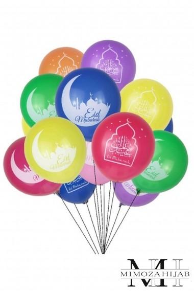 Lot 10 Multicolored inflatable balloons Eid moubarak