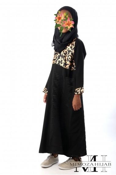 Abaya col V pour filles Arabesque soyeux