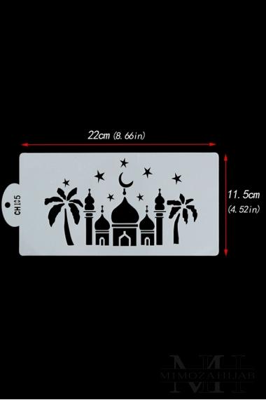 Pochoir avec mosquées et palmiers