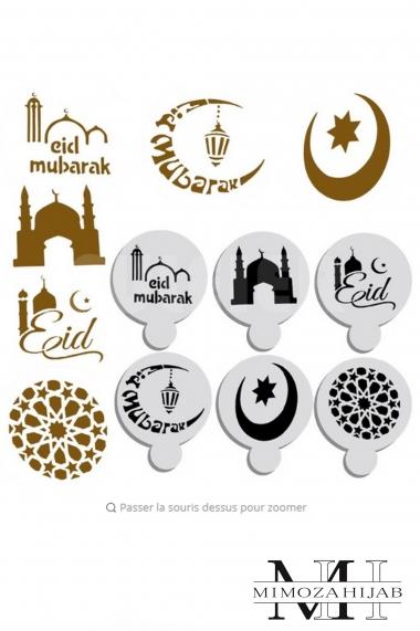 Lot de 6 petits pochoirs Eid Mubarak