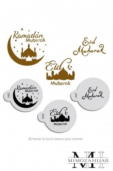Lot de 3 petits pochoirs Eid et Ramadan Mubarak