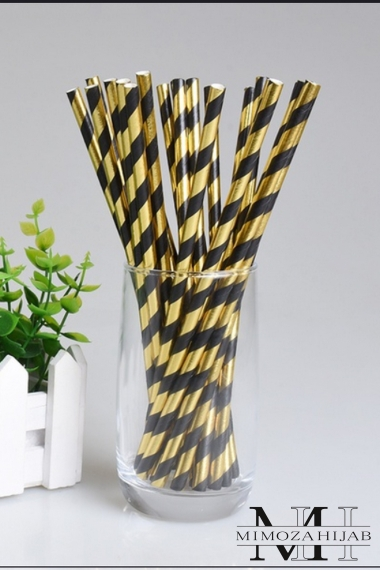 Black and gold thick cardboard straws