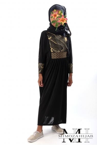 Abaya Golden Waves in Dubai Lycra for Girls