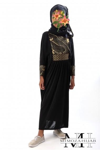 Abaya Waves dorées en lycra de Dubaï pour fillette