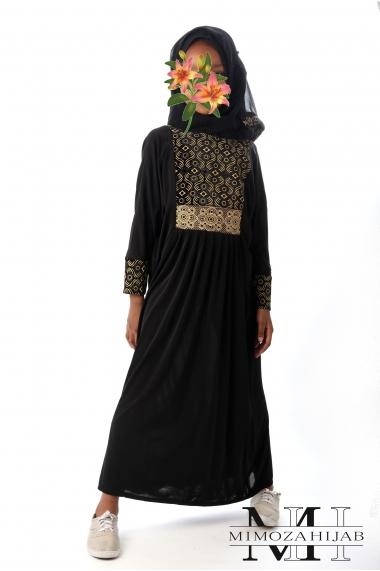 Abaya pour fillette motif Soleil doré
