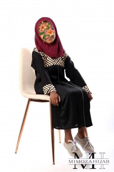 Abaya dubai pour filles Col V motifs carreaux fil doré