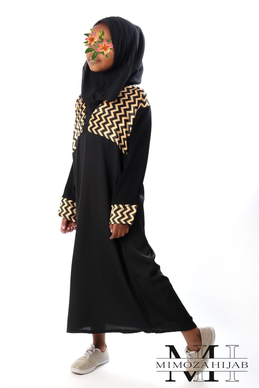Abaya façon Kimono motif Zig Zag doré