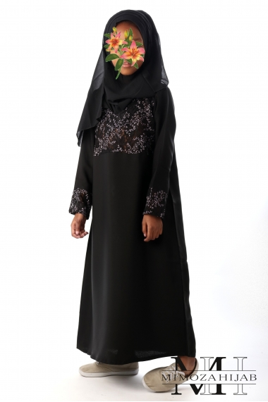 Embroidered LILAS abaya dress for girls