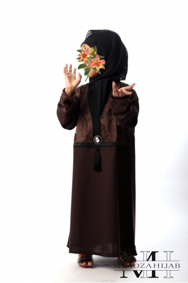 Abaya way Kimono Chocolate jewelry and tassel