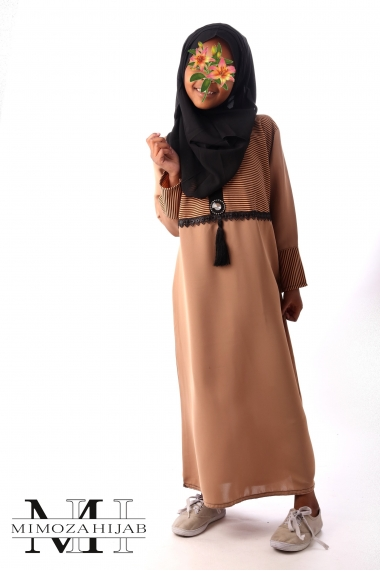 Abaya Camel for girls with black edging