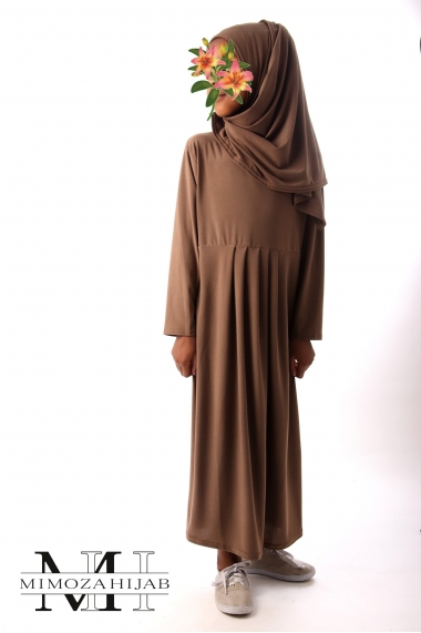 Girl dress with sewn hijab