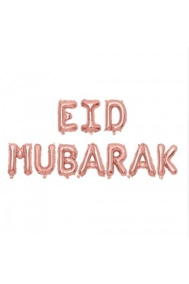 Décoration Eid Mubarak en ballons gonflables métallisés rose