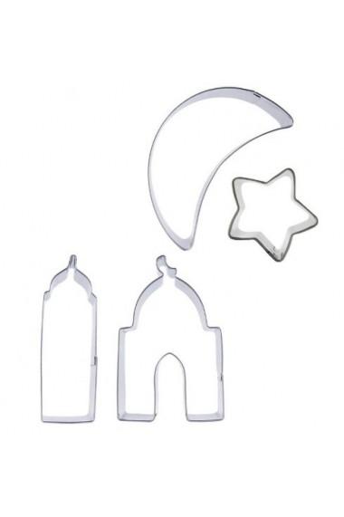Lot 4 emportes pièces forme lune - étoile - minaret - mosquée