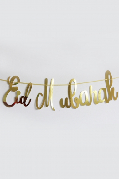 Banner garland Eid Mubarak handwritten font and gold color