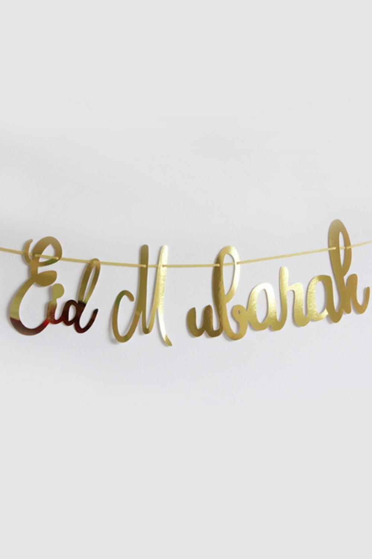 Banderole guirlande Eid Mubarak police manuscrite et couleur or