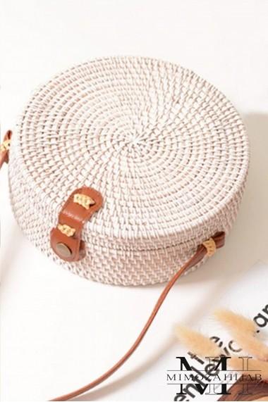 Handbag round wicker Bahamas shoulder strap