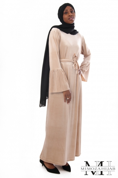 Robe Rayna velours avec manches volant plissé