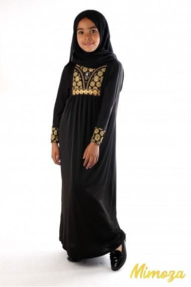Abaya de Dubai avec motifs paillettes dorées