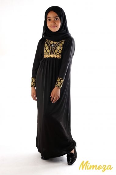 Dubai abaya with golden glitter patterns