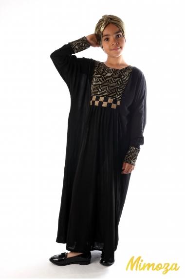 Abaya doré labyrinthe et damier