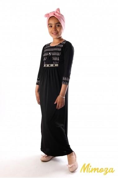 Abaya vaguelette argenté strassée