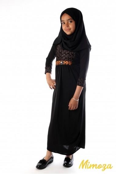 Abaya bronze feuille vaguée