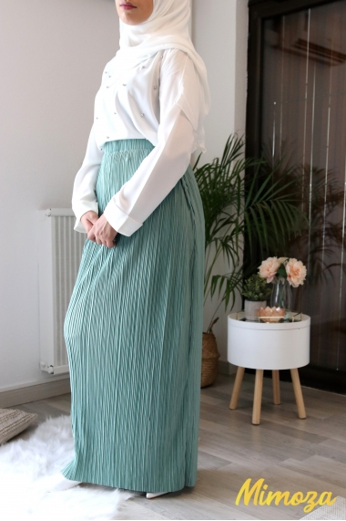 Julie pleated and silky tube skirt