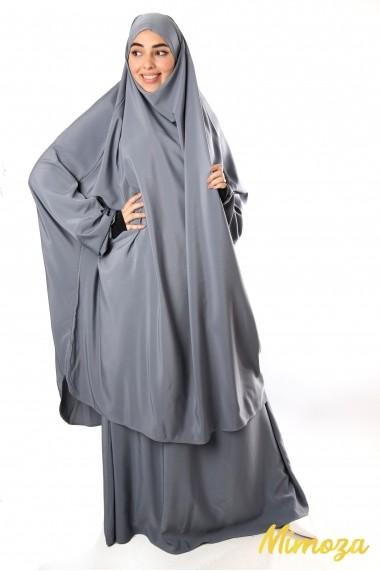 Jilbab 2 pièces jupe Al haya manchette lycra noir