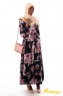 Floral impregnated wrap dress in light lined crepe